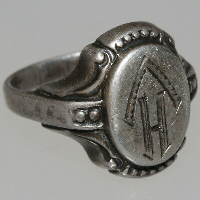 Intact Vintage Solid Silver Decorated European Ring