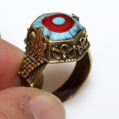 Museum Quality Phoenician Bronze Decorated Ring With Colored Stone Ca 300 Bc