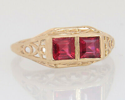 Antique Estate Filigree 10K Yellow Gold .80ct Ruby Art Deco Ring