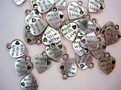 20 MADE WITH LOVE Silver Plated Charm/Tag/Craft/Bead/Beading/Alloy/Sew On K22
