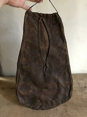 BEST LARGE Early Antique Handmade Leather Housewife Frontier Pocket 19th C AAFA