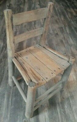 """Antique Vintage Primitive Wood Wooden Child's Small Chair -20 1/2"""" High"""