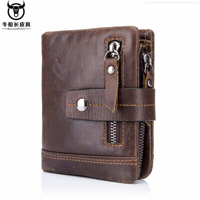 Genuine Leather Men's Wallet Zipper&Hasp Male Retro Coin Purse RFID Antimagnetic