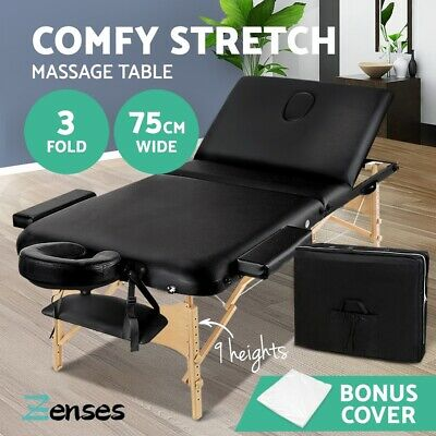 Zenses Wooden Portable Massage Table 3 Fold Beauty Therapy Bed Waxing 75CM BLACK