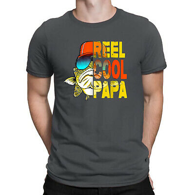58cc9771 Reel Cool Papa Fishing Funny Men's T-Shirt Tee Father's Day Gift for Grandpa  Dad