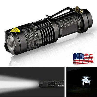Mini Q5 Metal 300LM LED Flashlight Torch Adjustable Zoomable Light Lamp Top