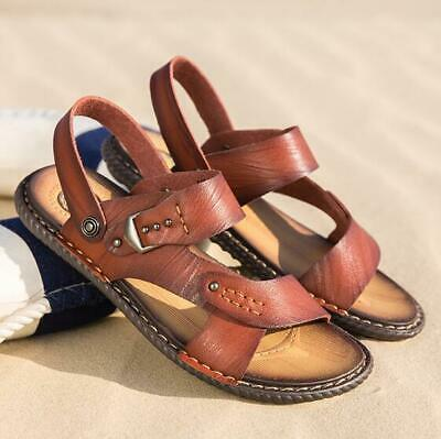 New Mens Summer Casual Beach Shoes Cow Leather No-Slip Sandals Open Toe Slippers
