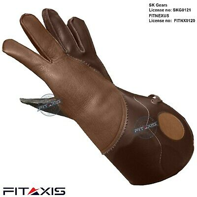 "Nubuck Leather Eagle Hunting shooting birds hawk Gloves 16"" Long Cuff"