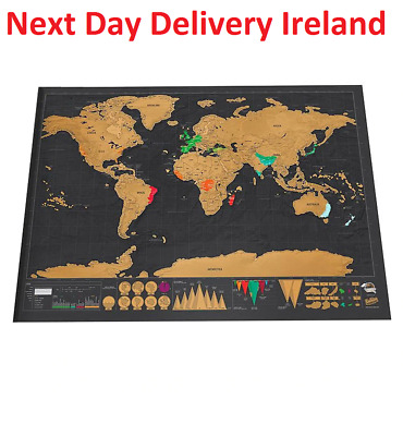 Deluxe Erase Black World Map Scratch off Personalized Travel Decoration Wall