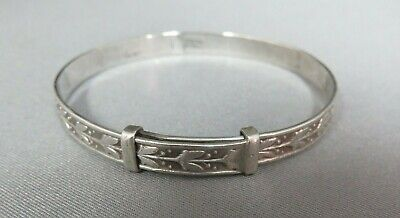 Vintage Solid Silver Expanding Baby Bangle. Christening.  xaod