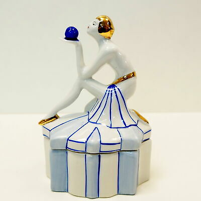 Box Jewelry Figurine Powder Box Bathing Beauty Sexy Art Deco-German Style Art No