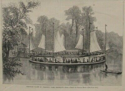 1853 Antique Prints- NEW YORK - East River - Green-Wood Cemetery - Prospect Park