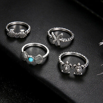 Women Rings Boho Style Artificial Turquoise Jewelry Charm Wedding Ring Set CO