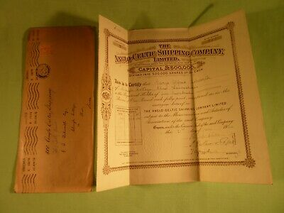 Old Stock Certificate The Anglo Celtic Shipping Company Limited 1920