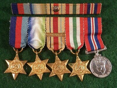 5 ww2 Miniature Medal Set With Ribbons & Bar Mounted