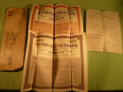 2 Old Stock Certificates The Anglo Foreign Pulp Company Limited 1929