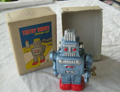 kleiner Tintoy Robot Wind up Blue Metal Sanko Y Japan OVP