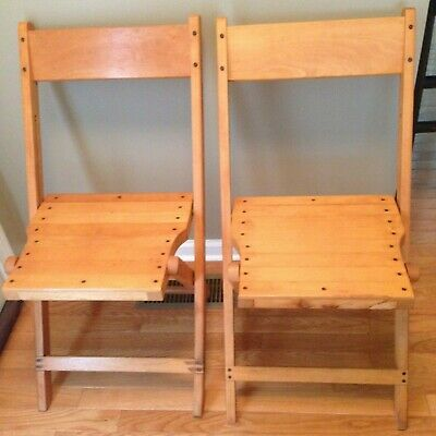 2 Vintage Slat Wood Folding Chairs (c)