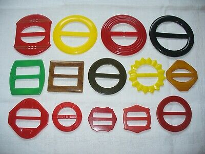 Lot of 14 Vintage Plastic Belt Buckles Colorful Sewing Crafts Collect