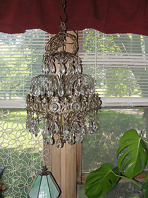Stunning ceiling glass chandelier, prisms, light fixture, tear drop, old