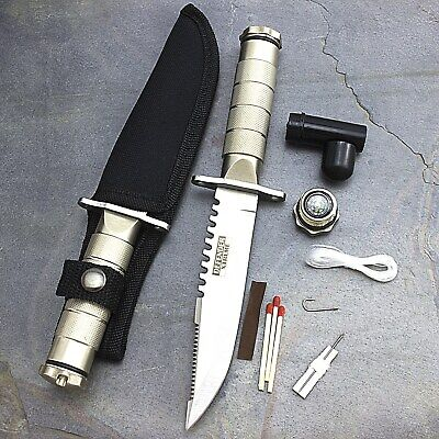 "8.5"" SURVIVAL TACTICAL SERRATED HUNTING KNIFE w/ SHEATH Bowie Combat Fixed Blade"