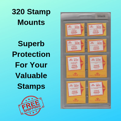 Prinz Scott Stamp Mounts Assortment Mix 8 Sizes 320 Mounts Black Stamp Collector