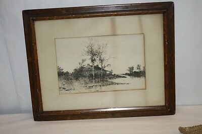 Antique Engraving Print Listed Artist Randall Meadows House Shanty Fence 20thC