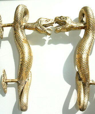 2 SNAKE Python hollow real brass door PULL old style POLISHED pair handle 35cm B