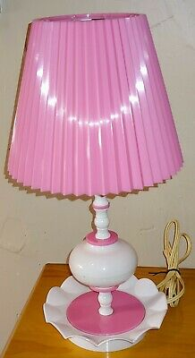 Vtg Shabby Chic MCM Pink White Plastic Lamp with PLASTIC Crinkle Shade! WORKS!