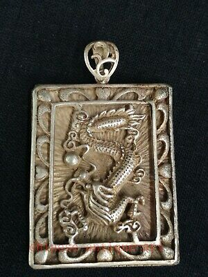 Collection Chinese Tibet Silver Hand-made Dragon Statue Amulet Necklace Pendant