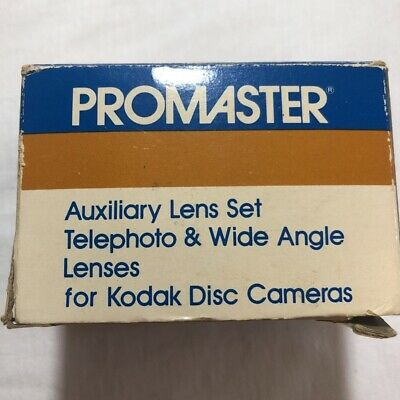 Promaster Auxiliary Lens Set For Kodak Disc Cameras Telephoto & Wide Angle