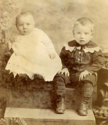 ANTIQUE CABINET PHOTO CUTE CHILDREN on STEPS by MANGOLD FANTASTIC BACKSTAMP