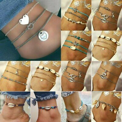 Summer Boho Anklet Turquoise Shell Charm Foot Ankle Chain Bracelet Women Jewelry