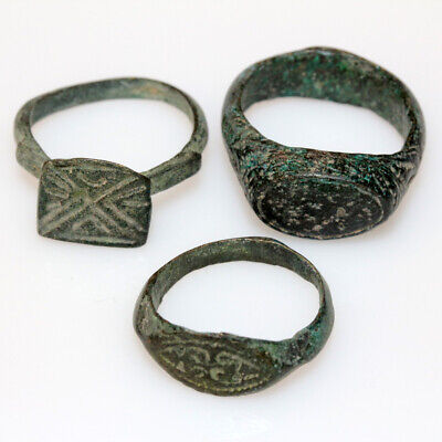 Lot Of 3 Intact Roman Decorated Bronze Rings