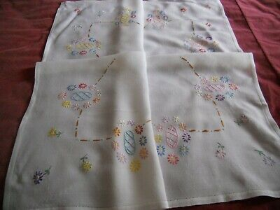 "Vintage white LINEN 35"" x 32"" TABLECLOTH hand embroidered with floral motif"