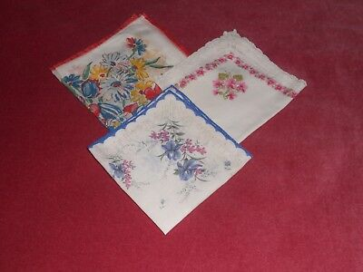 Vintage fine  cotton 3 various  LADIES HANDKERCHIEF print floral motif