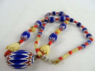 RARE Red Glass & Chevron antique African Trade beads Ethnographic Necklace