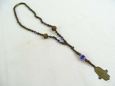 RARE Antique African Trade beads Carved Wood Ethnographic  Necklace