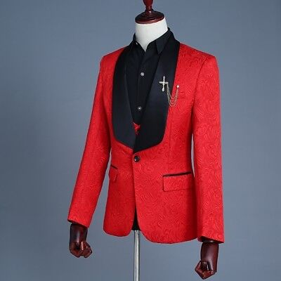 Red Jacquard 3 Pieces Best Men Groom Tuxedos Formal Groomsman Wedding Prom Suits