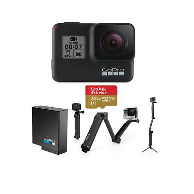GoPro HERO7 Black - Bundle with 3-in-1 Mount, Extra Battery, and 32GB Card