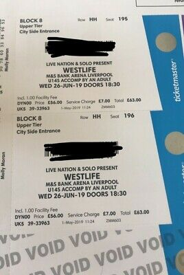 Concert tickets-4 Westlife tickets, Liverpool BankArena €65 each,reduced from FV
