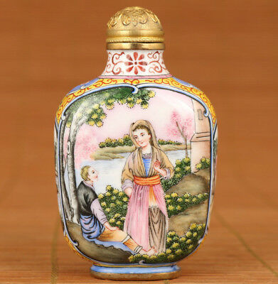 Antique Chinese Old Cloisonne Hand Painting Europe Girl Statue Rare Snuff Bottle