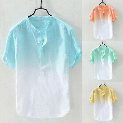 179b8b508 Summer Men's Cool Thin Breathable Collar Hanging Dyed Gradient Loose Fit  Shirt