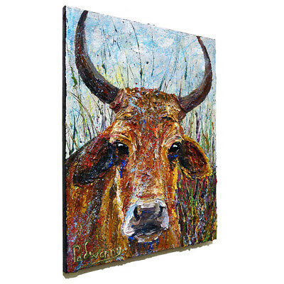 Animal Abstract Modern█Original█Oil█Painting█Impressionist Art Cow Bull Cows Pop