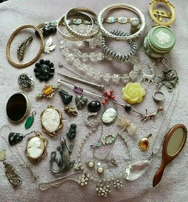 Superb Antique/Vintage Mixed Lot Of Silver & Other Jewellery Collectables & Box