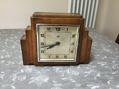 Mantle art deco electric clock in mahogany / OAK VINTAGE ANTIQUE