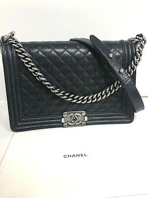 da313e07f1ad Authentic CHANEL Black Quilted Caviar Leather RHW Medium Le Boy Bag 2014