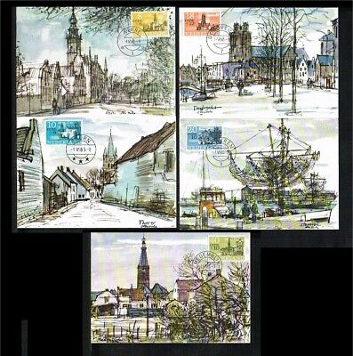[B32_004] 1965 - Max.cards NVPH no. 842-846 - Summerstamps - Towns and villages