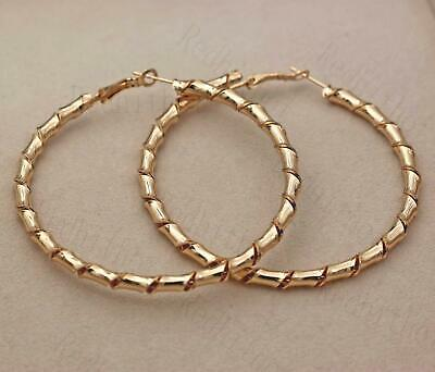 """18K Gold Filled 2.8"""" Earrings Oversize Round Twisted Bamboo Joint Ear Hoop SW"""