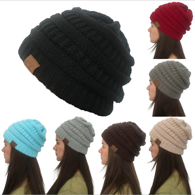 Women's Ponytail Beanie Ribbed Winter Messy Bun Cable Warm Soft Knit Hat 2019